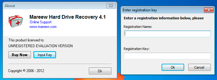 Hard Drive Recovery About and Input Key window