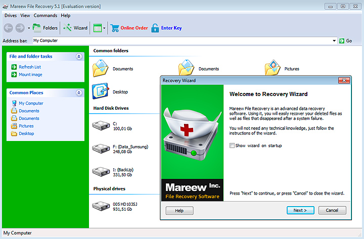 Welcome window of the Easy Recovery Wizard / File Recovery